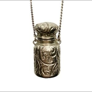1928 Chatelaine Pill Bottle Jar Silver Tn Necklace